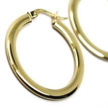 18K YELLOW GOLD CIRCLE HOOPS 3x1mm, EARRINGS 26mm, DOUBLE FACE SMOOTH & SATIN image 3