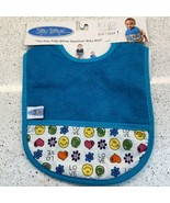 Silly Billyz Bib Baby Water Resistant Blue Smiley Face Love - $11.38
