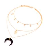 GOTHIC BLACK HORN CROSS PENDANT LAYERED BOHO CHOKER BEACH BODY JEWELRY N473 - $13.99