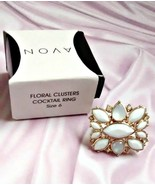 Rare AVON Floral Clusters Cocktail Ring in white and gold-tone Size 6 and NIB - $20.00