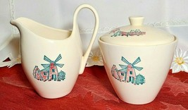 Vintage Mid Century USA Pottery Pink Green Windmill Creamer and Sugar Set