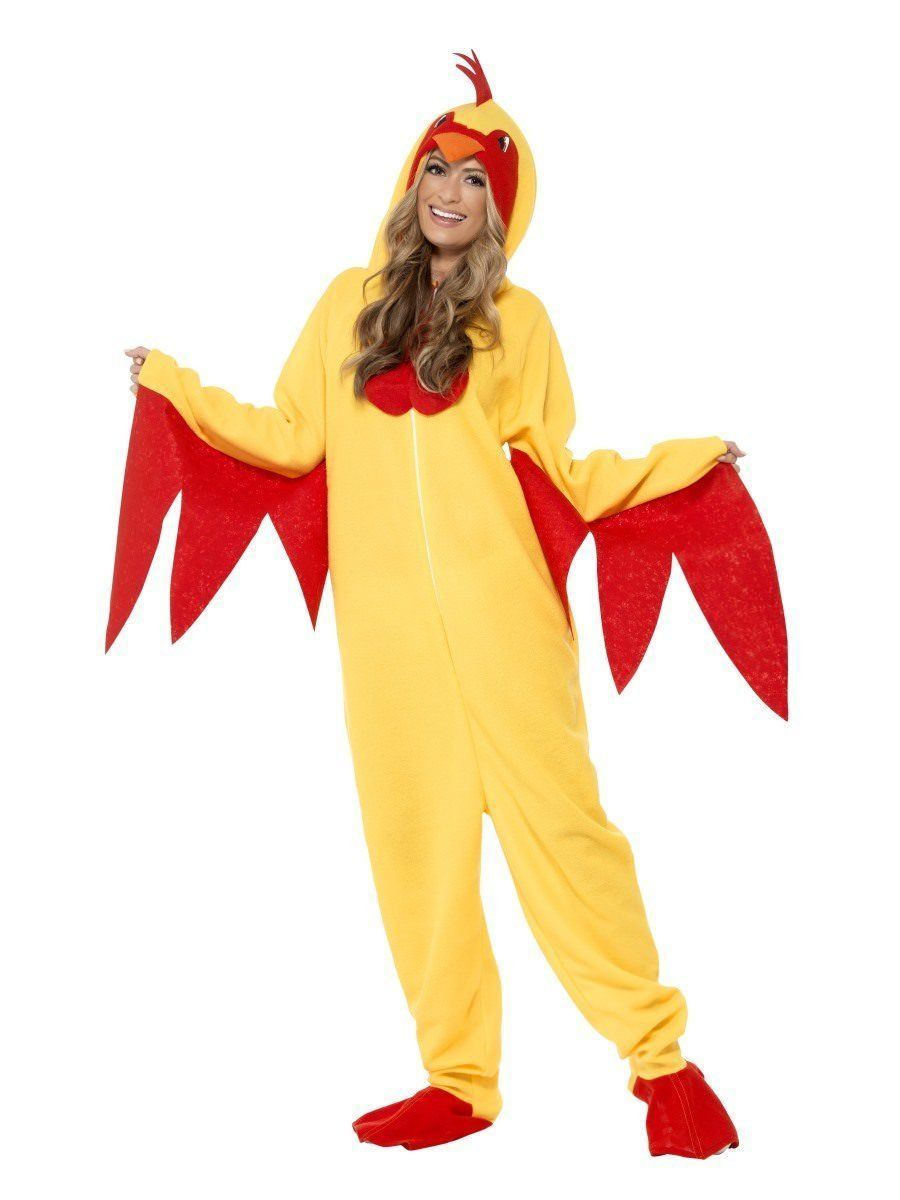 Smiffys Chicken Rooster Farm Yellow All In One Unisex Halloween Costume 27857