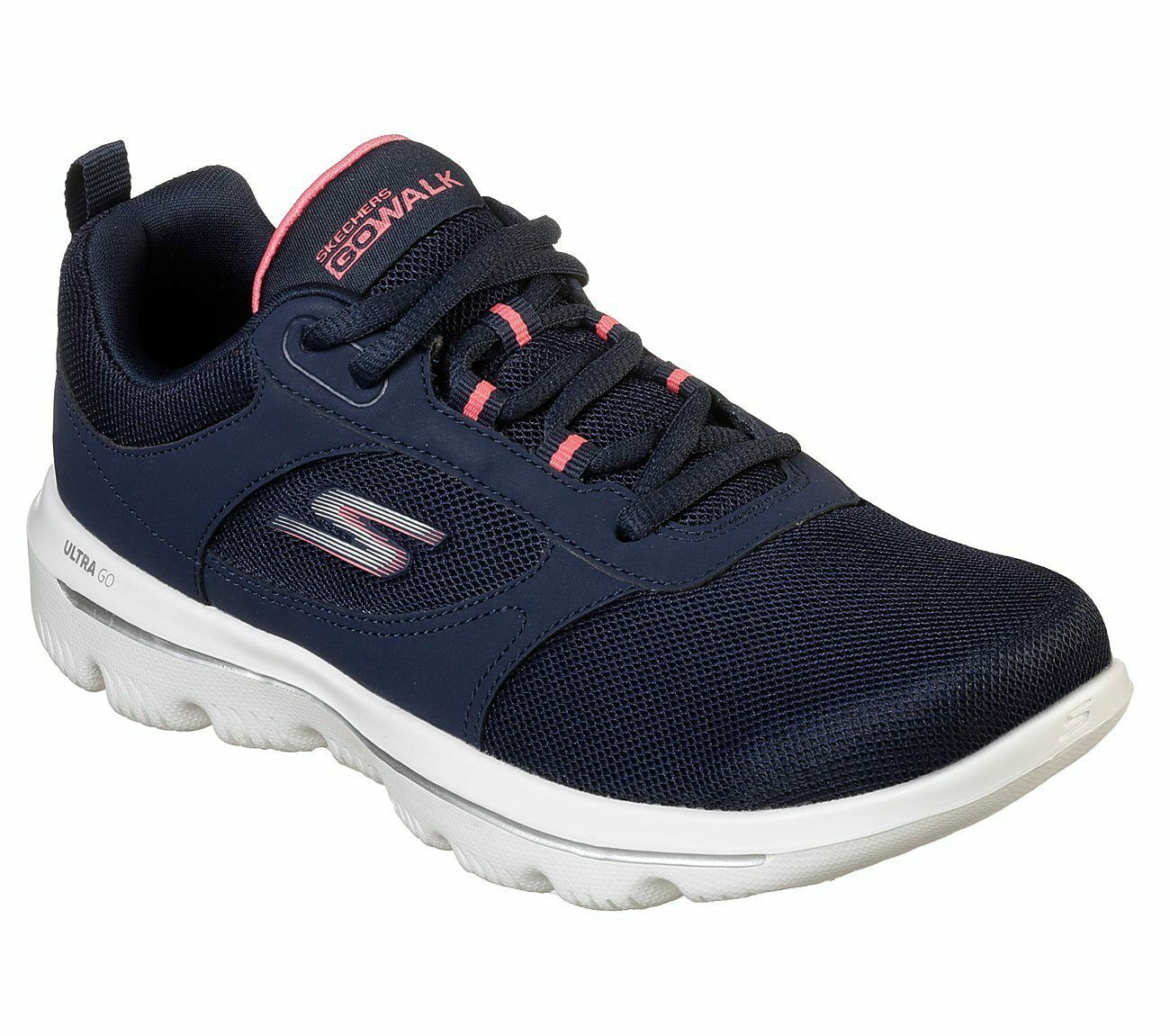 Skechers Navy Coral shoes Women Go Walk Comfort Mesh Casual Sporty Lace Up 15734