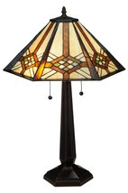 Meyda Tiffany Crosshairs Mission 25 H Table Lamp with Bell Shade - $210.60