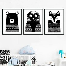 Art Canvas Print Woodland Animal Owl Fox Vintage Poster Nursery Wall Pai... - $9.89+