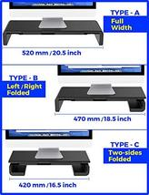 Foldable Monitor Stand Riser, Computer Laptop Riser Shelf with Organizer Drawer, image 3