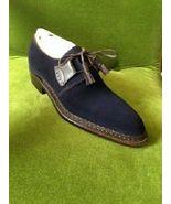 Hand stitched Men's Navy Blue Shoes, Men Suede Leather Shoes, Dress Form... - $149.99+