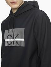 Calvin Klein Men's Linear Logo Drawstring Hoodie , Black , XXL - $45.53