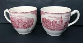 Johnson Bros Teacups Set Mugs Penshurst Kent 1792 Red Village Design Rep... - $19.79