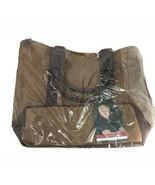 "Tote Shopping Bag Bag Travel LARGE Greg Norman Waxed Canvas Brown 19""x15"" - $28.71"