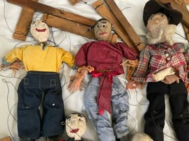 """Lot (10) Antique Handmade Marionette Doll Wood Resin 12.5"""" to 20"""" Man Woman image 2"""