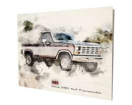 1985 Ford F150 4x4 Flareside Pickup Truck Art Design 16x20 Aluminum Wall Art - $59.35