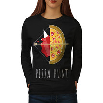 Pizza Hunt Arrow Hot Food Tee  Women Long Sleeve T-shirt - $14.99