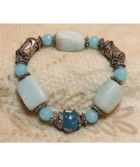 Blue Rose Wedding Cake Murano Bead Stone ? Bead Stretch Bracelet Designer ? - $29.68
