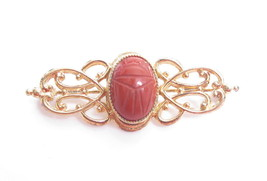 EGYPTIAN REVIVAL SCARAB BEETLE ORANGE JASPER VINTAGE GOLD PLATED BROOCH*... - $34.60