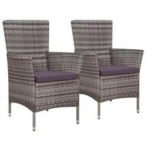 vidaXL 2x Outdoor Dining Chair Poly Rattan Wicker w/ Cushion Gray Garden... - $122.99