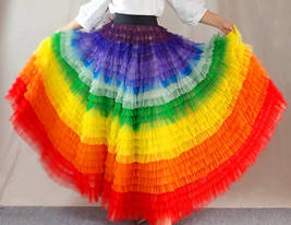 Adult Rainbow Tulle Skirt Long Colorful Rainbow Tutu Rainbow Costume High Waist  image 7