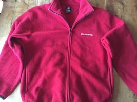 Chaps Ralph Lauren Red Black Trim Zippered Fleece Sweater XLarge  XL Jacket - $20.51