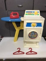Fisher Price #2037 Laundry Center Vintage 1990 Washer Dryer Iron board H... - $120.00