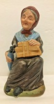 Old Lady With Umbrella Sitting on Tree Stump Figurine Statue Giftware Ho... - $8.90