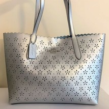 COACH Avenue Tote Bag ~ Metallic Silver Floral Perforated Leather F39894... - $139.95