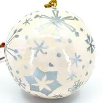 Asha Handicrafts Painted Papier-Mâché Silver Snowflakes Christmas Ornament image 2