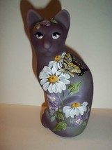 Fenton Glass Eggplant Purple Daisies & Butterfly Stylized Cat Ltd Ed Kib... - $222.62