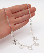 925 Sterling Silver - Shiny Star Fish Disc Charmed Round Link Necklace -... - $36.28