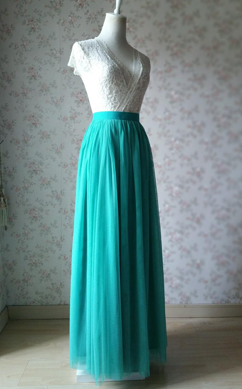 Maxi tulle skirt wedding green 60a 2