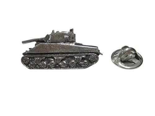 Kiola Designs Silver Toned Textured Sherman War Tank Lapel Pin