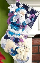 Bucilla Arctic Santa Christmas Polar Bears Blue Purple Felt Stocking Kit 86653 - $37.95