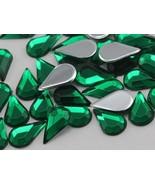 10x6mm Flat Back Teardrop Acrylic Jewels Pro Grade - 100 Pieces (Green E... - $5.59