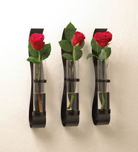 Black Billow Wall Vase Sconces Clear Glass Cylinders Contemporary Set of 3 - $42.95