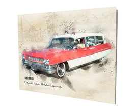 1960 Red White Cadillac Ambulance EMS EMT Art Design 16x20 Aluminum Wall... - $59.35