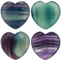 Rockcloud Healing Crystal Fluorite Heart Love Carved Palm Worry Stone Chakra Of - $27.89