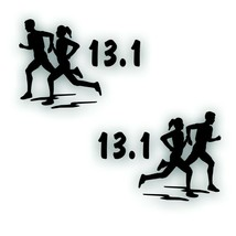 Marathon 13.1 COUPLE man boy woman girl decal PAIR for Olympic mile runn... - $8.83