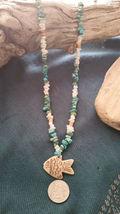 Old Mine Kingman's Turquoise Necklace,w/ Milk quartz, Fish pendant Men or Women image 7