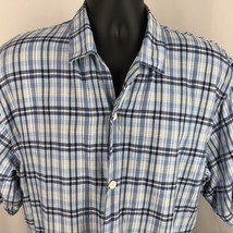 Izod Casual Shirt XL Short Sleeves Blue Plaid Cotton Button Front Pointe... - $30.60