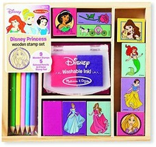 Disney Wooden Stamp Set Princess 9 Stamps Melissa & Doug Kit Girls Kids ... - $24.74