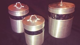 Brushed Aluminum Canister set mid century Flour Sugar Tea Grease w/ Scoo... - $86.18