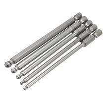 5pcs 2.5/3/4/5/6mm 100mm Magnetic Ball Screwdriver Bits 1/4 Inch Hex Shank - $7.38