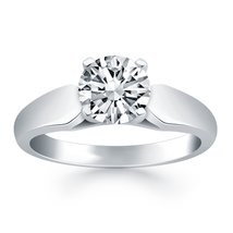 14k White Gold Tapered Cathedral Solitaire Engagement Ring - $1,995.00