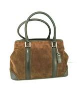 Coach Chocolate Brown Suede Bag Purse Leather Trim #7536 Satchel Handbag  - $64.34