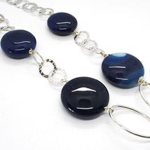 Silver 925 Necklace, Agate Blue Banded, Disco, with Hanging Charm, Length 50 CM image 4
