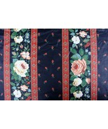3 Yards 1970's Mid-Century Floral Margin Drapery Material Fabric DuPont ... - $16.82