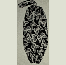 Cloth Plastic Bag/Grocery Bag Holder - White Butterflies on Black 117A - $7.00
