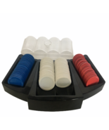 Poker Chips with Storage Container and Table Tray for Play Red Blue White 99 - $9.99