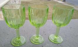 3 Hocking GREEN Colonial Knife & fork Wine Claret Goblets Glasses Stems - $29.99