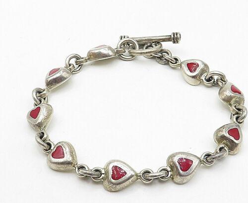 925 Silver - Vintage Carnelian Inlay Love Heart Linked Chain Bracelet - B4553
