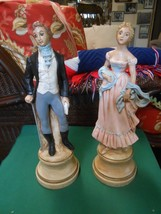 Great Set of 3 Ceramic Figures Victorian GENTLEMAN and LADY - $22.36